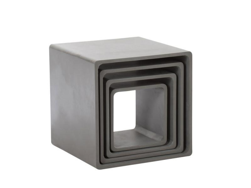 Set de 4 tables gigognes bois gris - bertolt - l 58 x l 58 x h 58 - neuf
