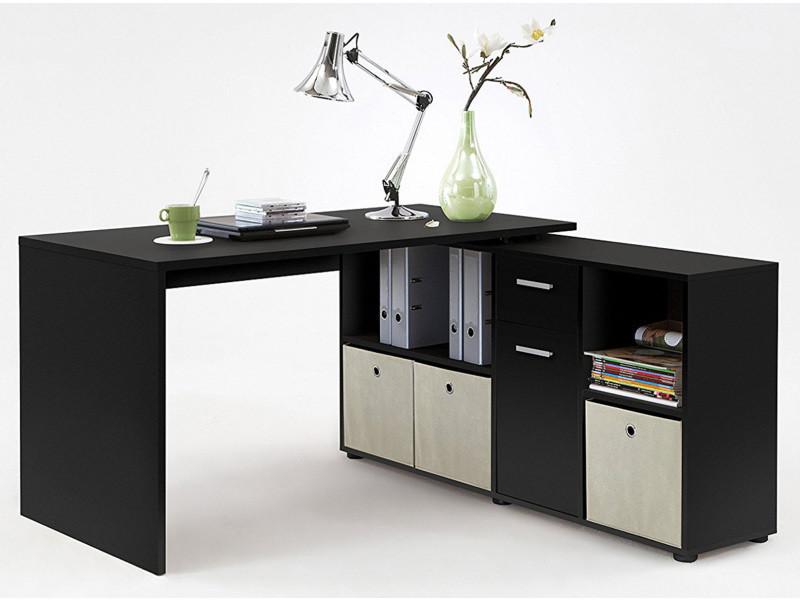 Bureau angulaire réversible en bois de couleur noire dim l