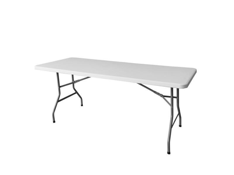 Table de jardin pliante 183cm plastique blanc - l 183 x l 76 x h 74 ...
