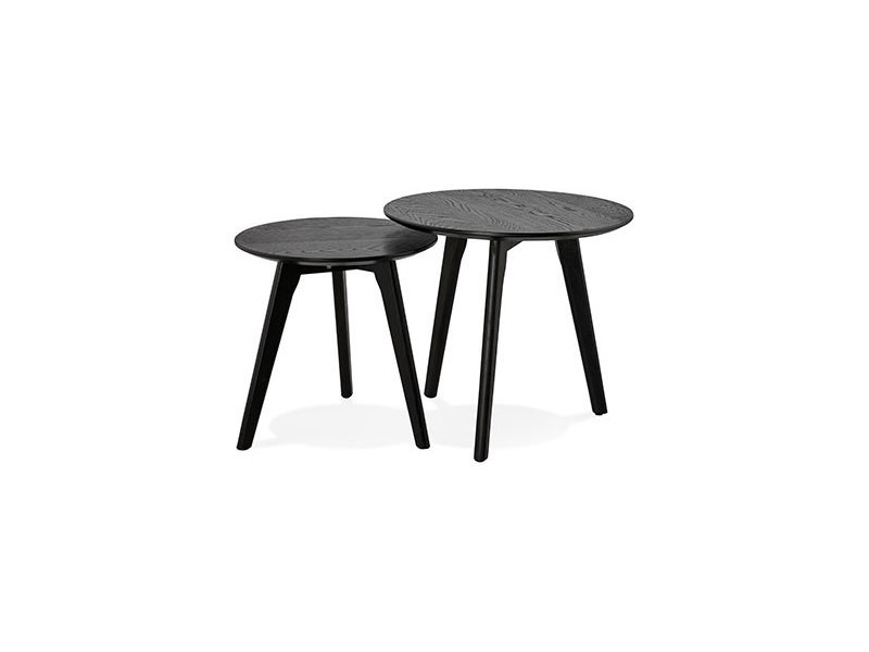 Lot De 2 Tables Gigognes Rondes En Bois Noir Baltic