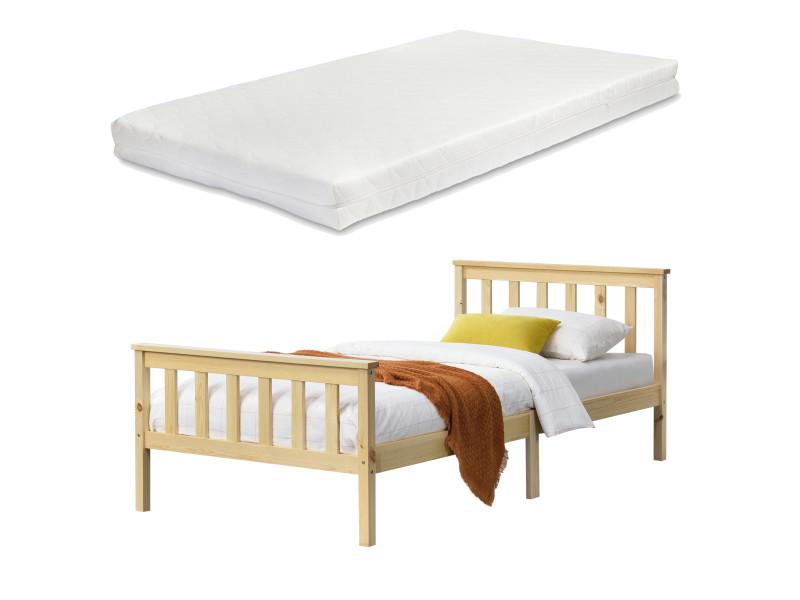 Cadre de lit design pour adultes en bois de pin à sommier à lattes lit simple avec matelas à mousse à froid capacité de charge 100 kg 90 x 200 cm bois naturel [en.casa]