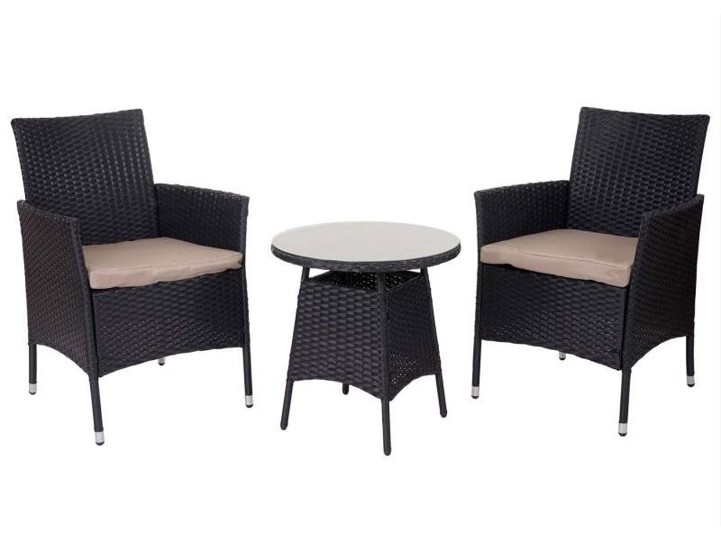 Salon de jardin avec fauteuils et table en poly-rotin ...