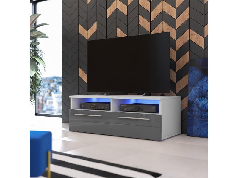 Meuble Tv Siena Avec Led 100 Cm Blanc Mat Gris Brillant Vente De Meuble Tv Conforama