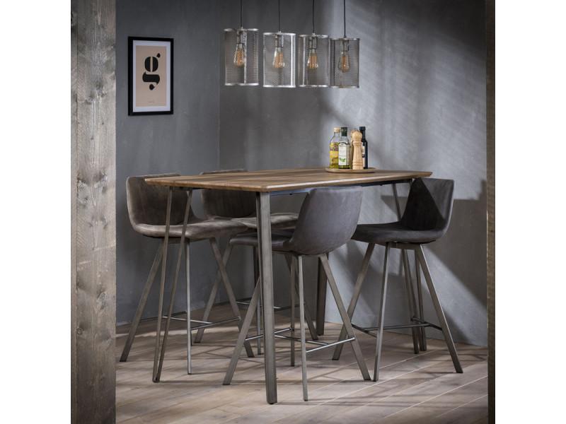 Table de bar vintage en bois brun et piétement en acier blaise