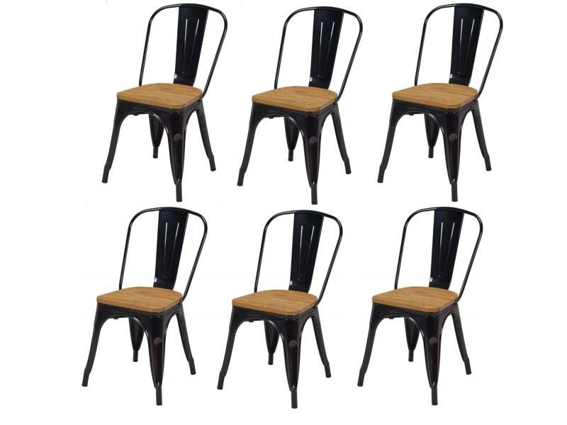 Lot de 6 chaises de salle à manger style industriel ...