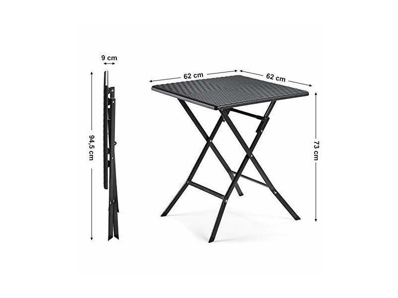 Songmics petite table de jardin pliante avec surface en ...