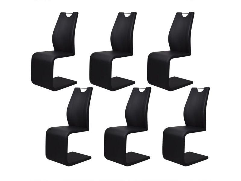 6 pcs chaise de salle à manger cuir artificiel