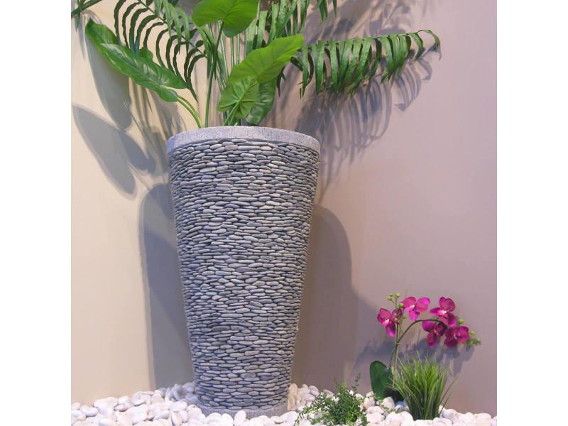 Pot Bac Jardiniere Conique Galet 80cm Jardin Exterieur Zen