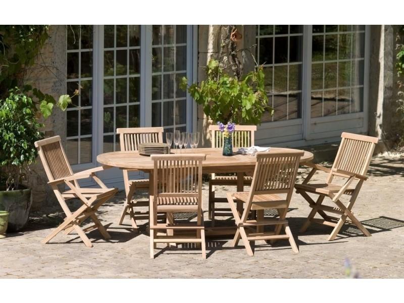 Table en bois teck massif ovale extensible de jardin 150 - 200 x 90 ...