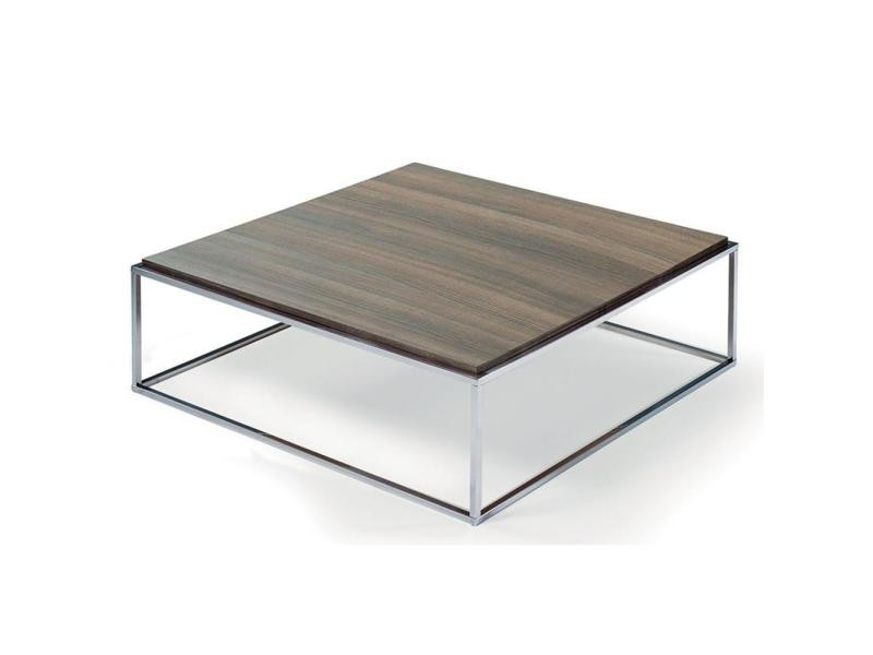 Table basse carrée mimi xl céruse noyer structure acier inoxydable poli 20100847253