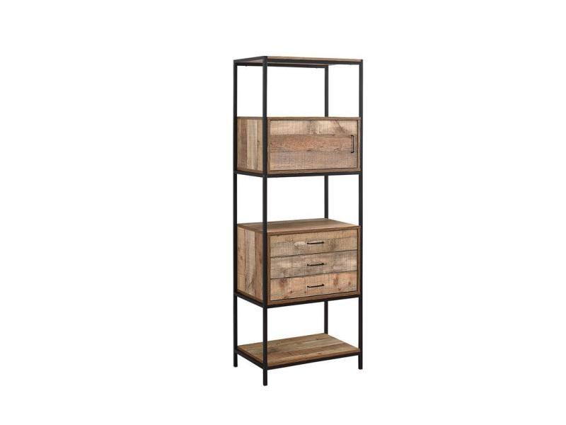 Étagère bibliothèque 3 tiroirs style industriel