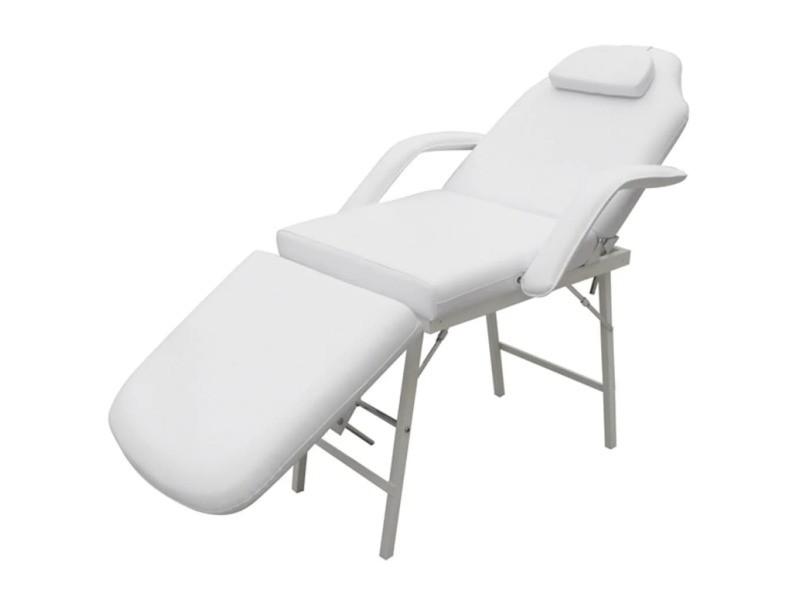 Vidaxl fauteuil de massage pour traitement facial simili-cuir blanc 110041