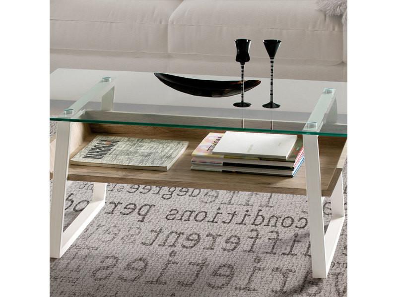 Table De Salon Moderne Blanc Couleur Bois Berlin Vente De
