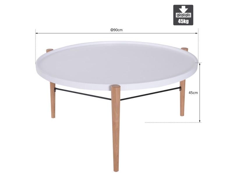 Table Basse Ronde Design Scandinave O 90 X 45h Cm Metal Mdf Bois