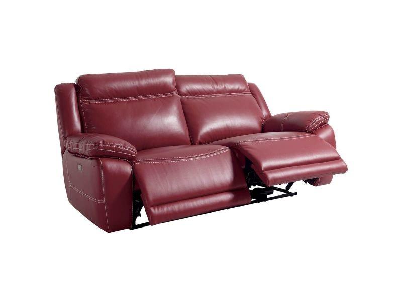 Onyx - canapé relax electrique 3 places rouge - Vente de ...