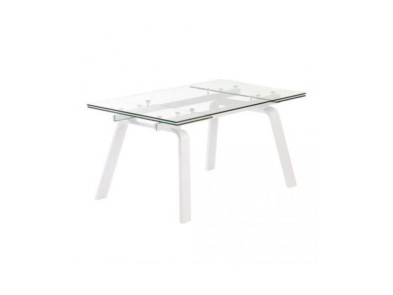 Table à rallonges bois blanc et verre moon 160-240 cm