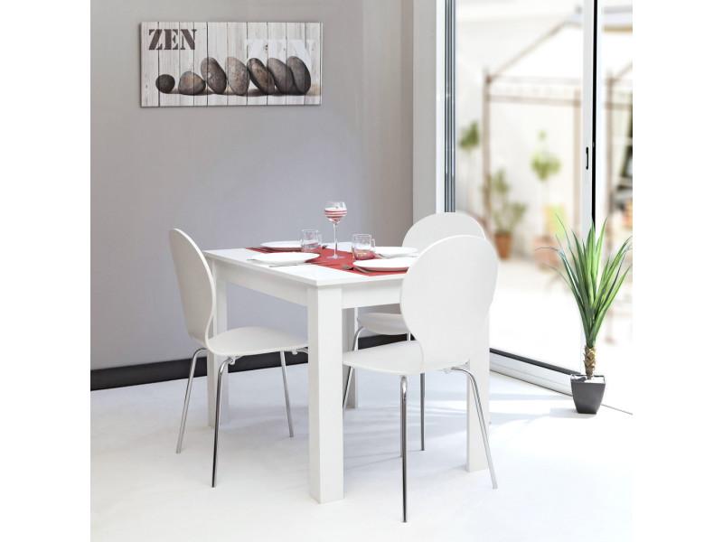 Table à manger 110 cm pieds blancs et plateau blanc - modern