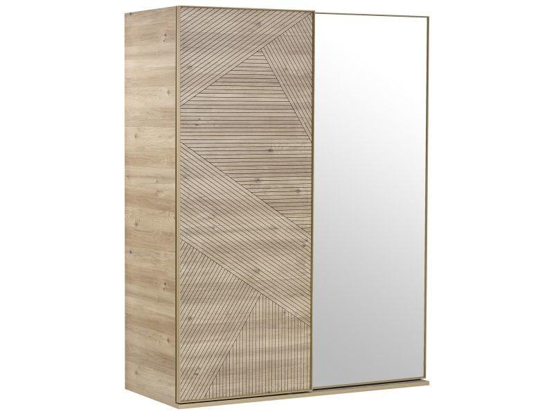 Armoire 160x212 Cm à 2 Portes : 1 Porte Coulissante Avec Ornement + 1 Porte  Miroir Coulissante Coloris Chêne Blanc P 17171 Co C Aden