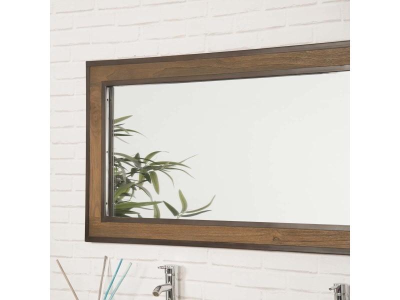 Grand miroir de salle de bain elégance teck métal 145x70 ...