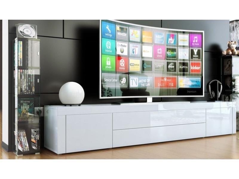 Meuble bas pour tv blanc laqué