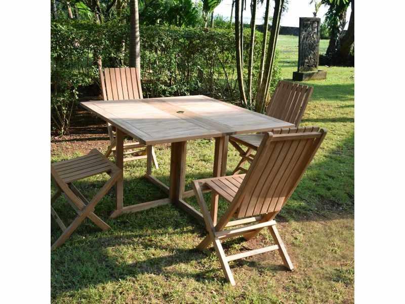 Table de jardin en teck pliable 120 x 120 cm - goa Teck ...