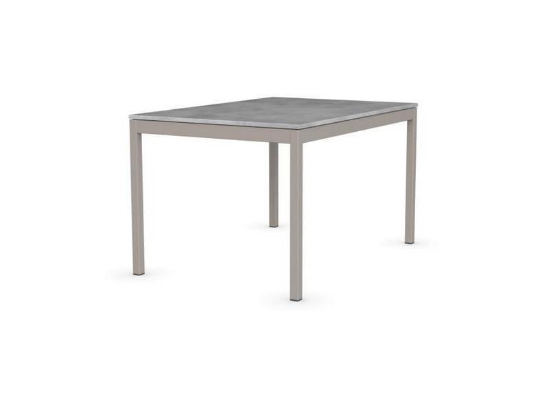 Table extensible snap gris beton piétement acier laqué grège 130x90 cm 20100839958