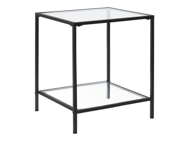Table d'appoint avec étagère table carrée design bouts de canapé de salon plateau en verre trempé pieds en acier 55 x 45 x 45 cm noir transparent [en.casa]