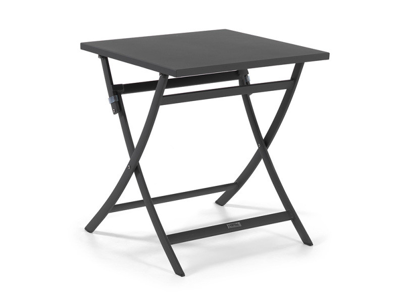 Table pliante carrée en alu anthracite 70 x 70 cm grace