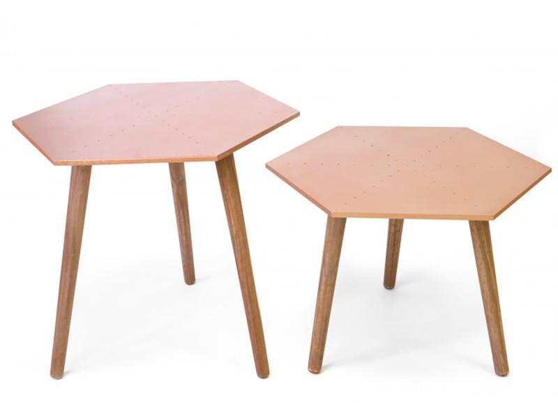 Lot de 2 tables basses hexagonales en bois coloris cuivre ...