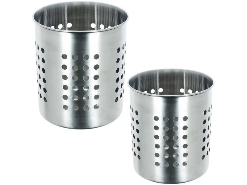 Lot Ensemble De 2 Range Couverts En Inox Pot Egouttoir A Couverts