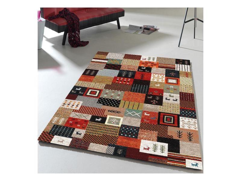 Tapis inspi gabbeh moderne et design ethno carrel gris, rouge ...