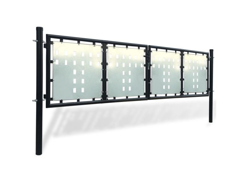 Icaverne - portillons gamme portillon de jardin double noir 300 x 150 cm