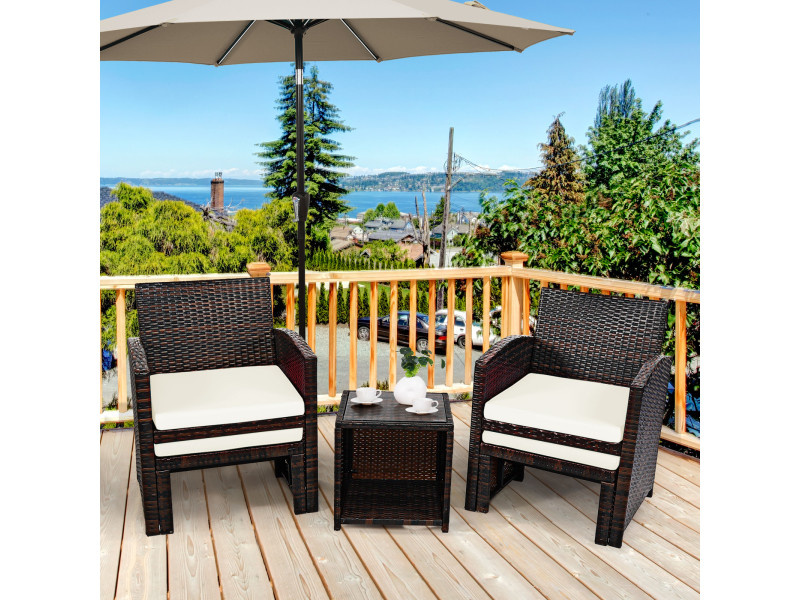Ensemble meuble de salon 5pcs, salon de jardin en rotin pe pour véranda, patio, balcon,piscine terrasse blanc