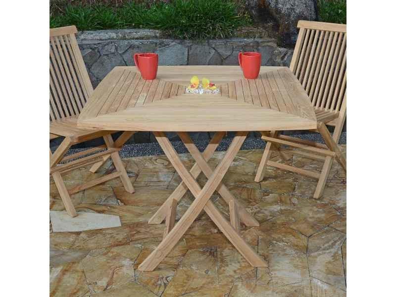 Table de jardin en teck pliable 90 x 90 cm - cardif Teck ...