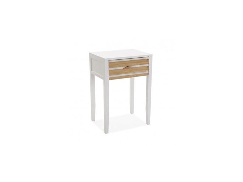 Table De Chevet Bois Clair Et Blanc Zen Vente De Versa Conforama