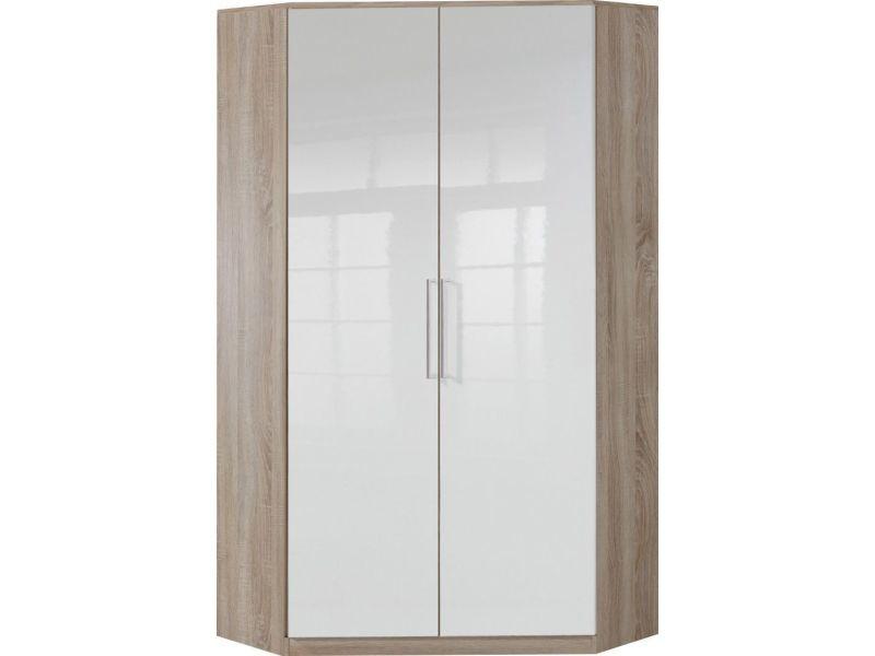 Armoire d\'angle 95x198 cm avec 2 portes coloris blanc brillant et ...