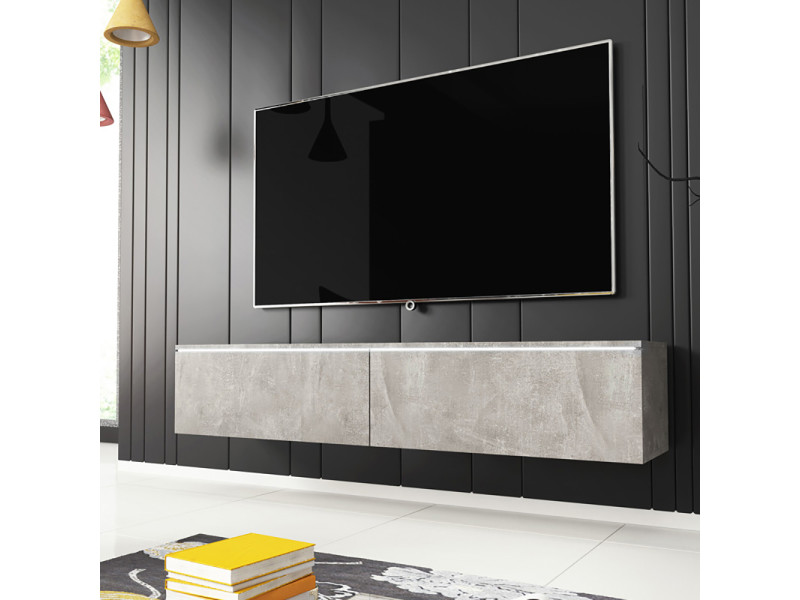 Meuble tv - KANE - 140 cm - béton - LED