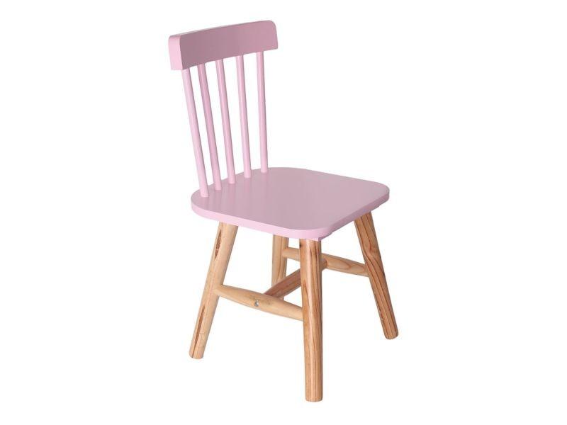 Chaise enfant en bois moon - rose