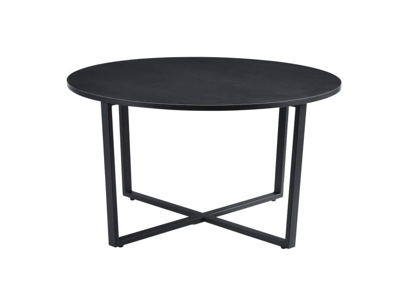 Table basse pour salon table ronde design plateau en panneau de particules pieds croisés en acier 80 x 45 cm noir effet bois [en.casa]