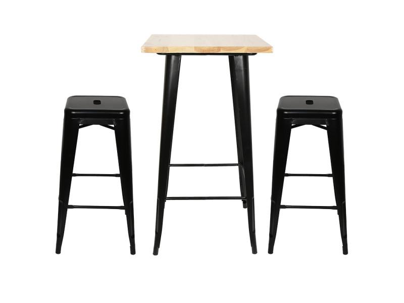 Hombuy® ensemble de table de bar couleur bois et 4 tabourets noir style industriel pour bistrot, cuisine, jardin, restaurant