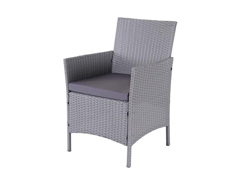 Salon de jardin avec fauteuils banc et table en poly-rotin ...