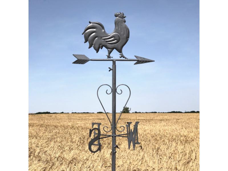 Girouette coq fer de jardin à planter gris 162 cm x 30 cm - Vente de ...
