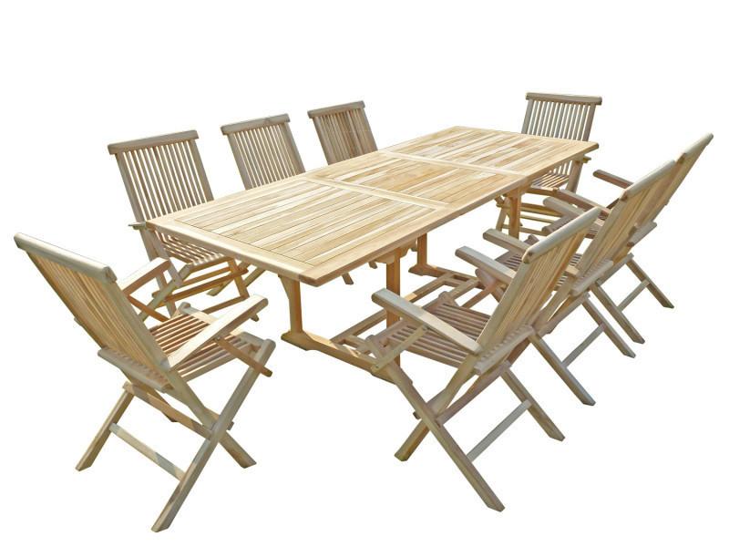 Ensemble de salon jardin en teck amara 8 fauteuils pliants ...