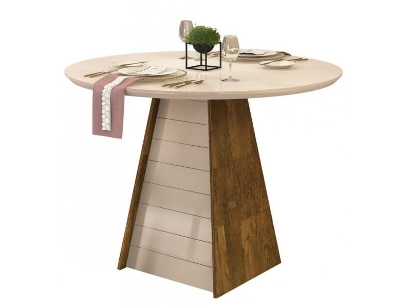 Table à manger ronde 4 places bois et blanc