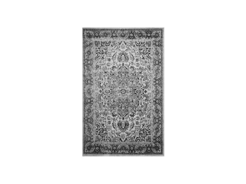 Tapis De Salon Oriental Subway Gris, Noir Et Blanc 120x170cm