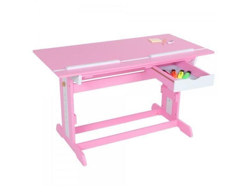 Bureau enfant meuble chambre rose plateau inclinable helloshop26