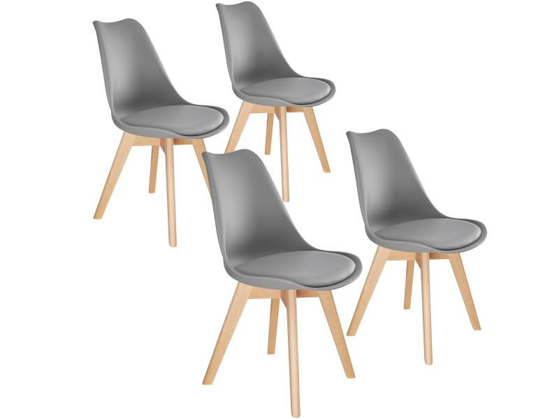 Tectake 4 chaises de salle à manger frédérique style scandinave pieds en bois massif design moderne - gris 403815