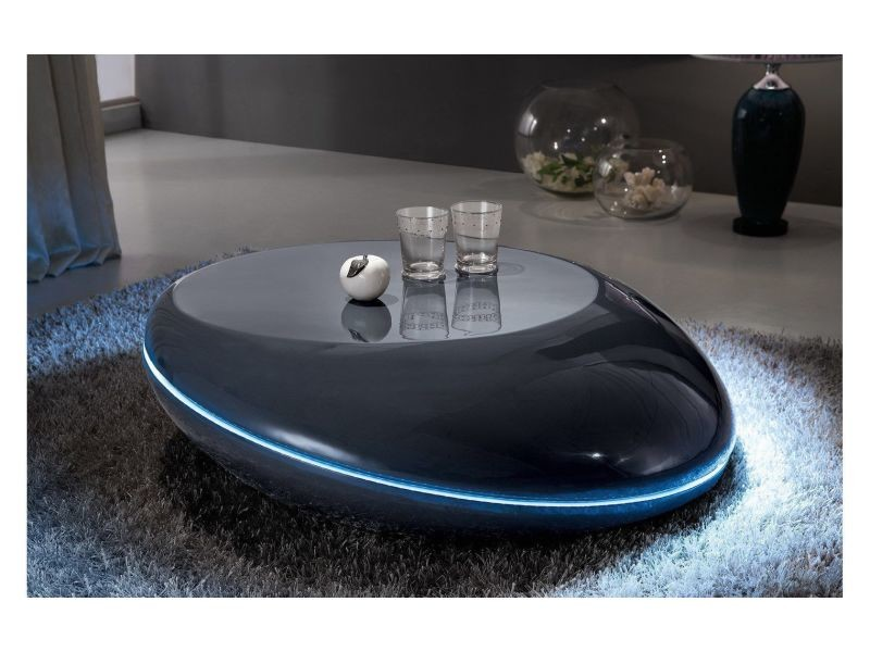 Table Basse Led Conforama.Table Basse Design Galet Led Coloris Gris Fonce P 178 Co