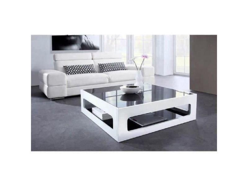 Table basse angel table basse carrée style contemporain laquée blanc brillant avec plateaux en verre trempé noir - l 90 x l 90 cm