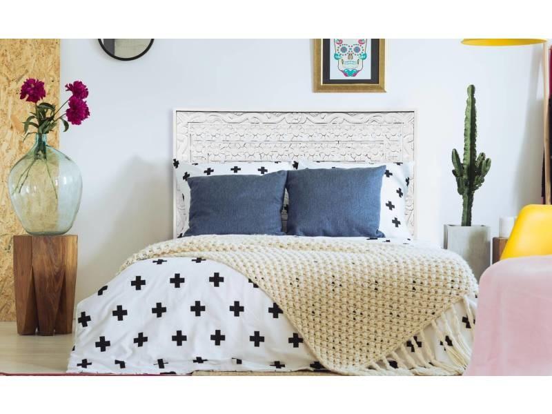 Tête de lit fleuralie 160cm bois blanc